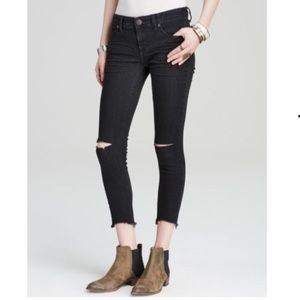 Free People Ripped Skinny Crop Jeans